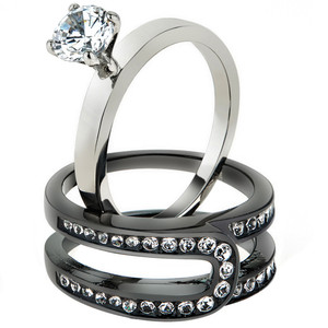 Women's Silver & Black Stainless Steel AAA CZ Wedding Ring Band Set