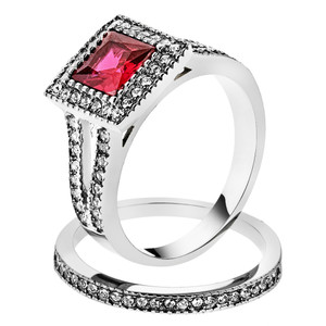 ARTK2293 Stainless Steel 1.64 Ct Princess Cut Ruby Zirconia Halo Wedding Ring Set Sz 5-10