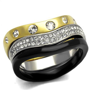 Silver Black & Gold Ion Plated Stainless Steel Crystal Fashion Ring