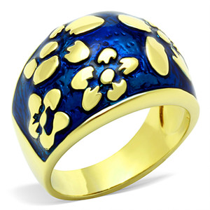 Stainless Steel 14K Gold Plated & Capri Blue Epoxy Flower Fashion Ring Size 5-10