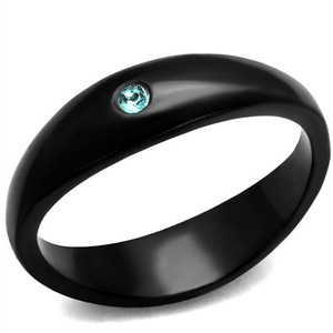 Women's Round Light Sapphire Crystal Stainless Steel Black Fashion Ring Sz 5-10