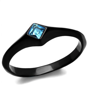 Women's Princess Cut Sea Blue CZ Stainless Steel Black Engagement Ring Size 5-10