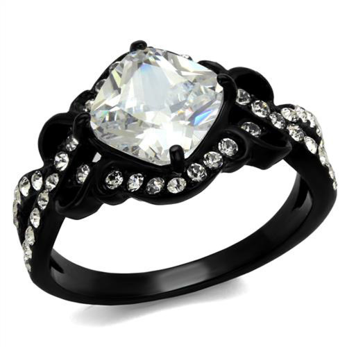 2.28 Ct Cushion Cut CZ Stainless Steel Black Engagement Ring Women's Size 5-10