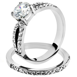 ARTK2292 Stainless Steel 1.25 Ct Round Cut AAA CZ Wedding Ring Band Set Women's Size 5-10