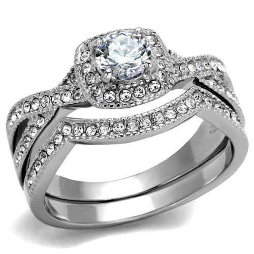 ARTK2296 Stainless Steel Round Cut 81 Ct Zirconia Halo Wedding