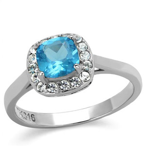 Women's .92 Ct Cushion Cut Sea Blue CZ Stainless Steel Halo Engagement Ring 5-10