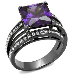 6.85 CT PRINCESS CUT AMETHYST ZIRCONIA LIGHT BLACK PLATED COCKTAIL RING SIZE 5-10