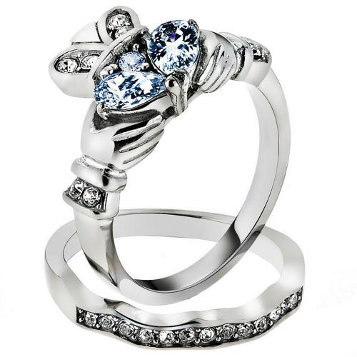 ARTK2119 Stainless Steel Irish Claddagh AAA CZ Wedding Ring Band Set Womens Size 5 10