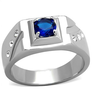 1.02 CT ROUND CUT BLUE MONTANA CZ STAINLESS STEEL FASHION RING MEN'S