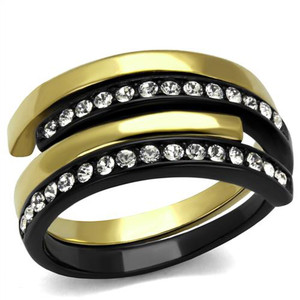Women's 2 Piece Black & Gold Plated Stainless Steel Crystal Cuff Fashion Ring