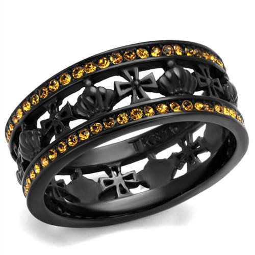 Womens Black Ion Plated Stainless Steel Topaz Crystal Crown & Cross Ring Sz 5-10