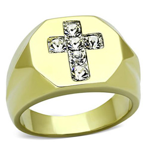 Men's Stainless Steel 14k Gold Ion Plated Simulated Diamond Cross Ring