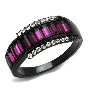 1.9 Ct Amethyst & Clear Crystal Black Stainless Steel Fashion Ring Women Sz 5-10