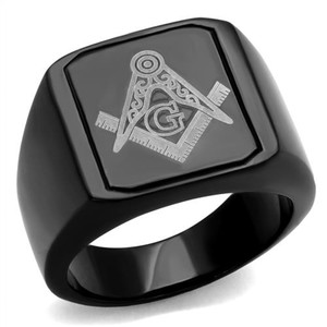 Men's Stainless Steel Black Ion Plated & Enamel Masonic Freemason Ring Size 8-13