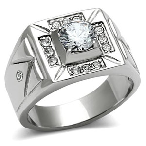 MEN'S 1.24 CT ROUND CUT SIMULATED DIAMOND SILVER STAINLESS STEEL RING SIZES 8-13