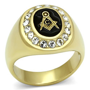 Men's Stainless Steel 14k Gold I.P. Crystal Masonic Freemason Ring Band Sz 8-13