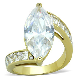 Women's 9.38 Ct Marquise Cut Cz 14k Gold Plated Stainless Steel Engagement Ring