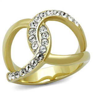 14k Gold Plated Stainless Steel Crystal Infinity Fashion Ring Women's Size 5-10
