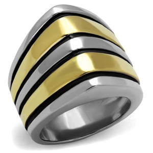 Stainless Steel Two Toned Gold & Silver with Black Epoxy Fashion Ring Size 5-10