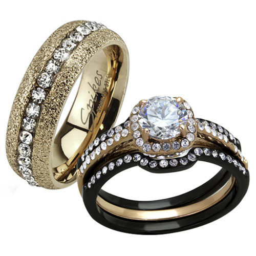 Rings His and Her Wedding Ring Sets Two Toned MarimorJewelrycom
