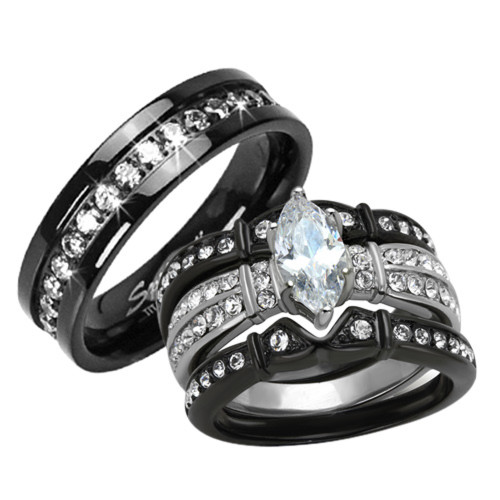 ST1922 RTI3816A Stainless Steel U0026 Titanium His U0026 Hers 4 Pc Black Wedding  Engagement Ring Band Set