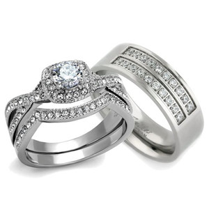 His & Her 3pc Silver Stainless Steel & Titanium Wedding Engagement Ring Band Set