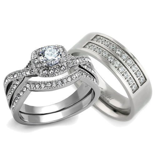 st2296 rtm3644 silver stainless steel titanium his her 3pc wedding engagement ring band set - Wedding Ring Bands For Her