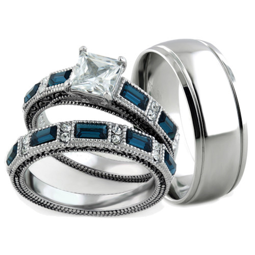 His & Her 3pc Stainless Steel Antique & Brush Metal Wedding Engagement Ring Set