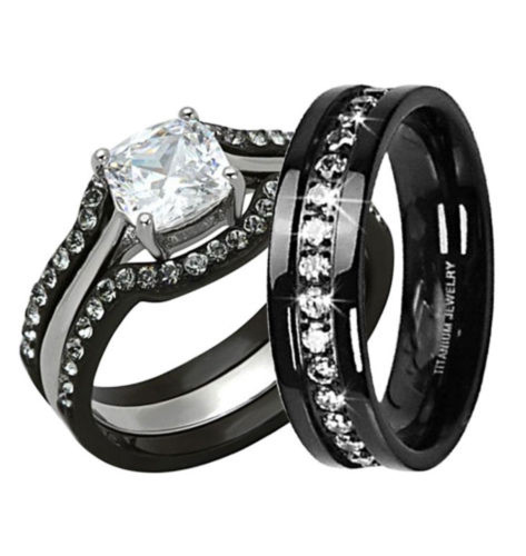 HIS & HERS 4PC BLACK STAINLESS STEEL & TITANIUM WEDDING ENGAGEMENT RING ...