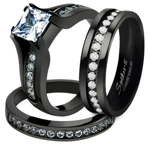 HIS & HER 3PC BLACK STAINLESS STEEL & TITANIUM WEDDING ENGAGEMENT RING BAND SET