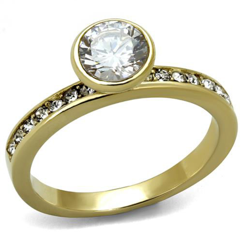 Women's .91 Ct Round Cut Cz Gold Plated Stainless Steel Engagement Ring Sz 5-10