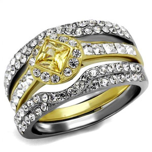 Women's Mulit-Stone Cz Two-Toned Stainless Steel Wedding Ring Band Set Size 5-10
