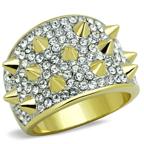 14k Gold Plated Stainless Steel Crystal & Spike Fashion Ring Women's Size 5-10