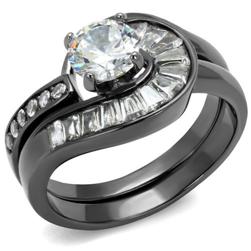 1.38 Ct Round & Bagguete Cz Gray Stainless Steel Wedding Ring Set Womens Sz 5-10