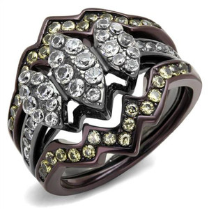 1.95 Ct Round Cut Cz Black & Brown Stainless Steel Wedding Ring Set Women's 5-10
