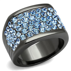 Women's Gray I.P. Stainless Steel & Light Sapphire Crystal Cocktail Ring Sz 5-10