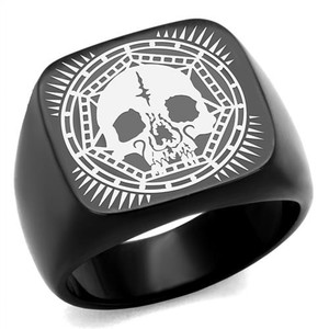 Men's Stainless Steel Black Ion Plated Skull Ring Band Size 8-13