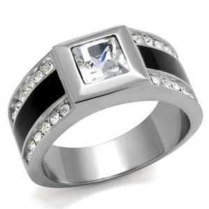 Mens Princess & Round Cut Simulated Diamond Stainless Steel & Epoxy Ring Sz 8-13