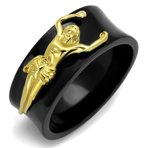 Men's Stainless Steel Black & Gold Plated Jesus Christ Ring Religious Band 8-13