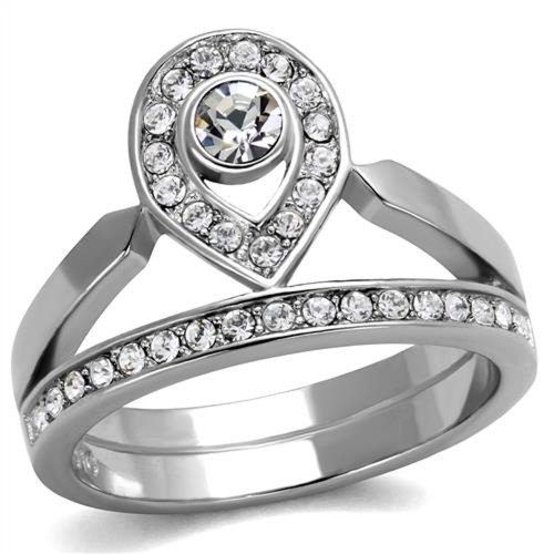 High Polished Stainless Steel Crystal Crown Fashion Ring Women's Size 5-10