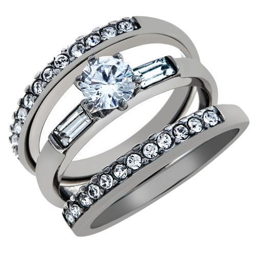 artk973 womens 1ct round cut baguette 3 piece wedding engagement ring set size 5 10 - 3 Piece Wedding Ring Sets