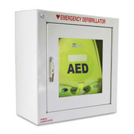 Compact Metal AED Wall Cabinet w/ Alarmed Door - Surface Mount