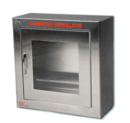 Compact Stainless Steel AED Wall Cabinet w/ Alarmed Door - Surface Mount