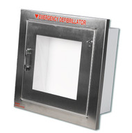 Compact Stainless Steel AED Wall Cabinet w/ Alarmed Door - Semi-Recessed Mount