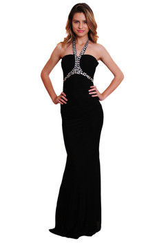 Atina Collection Black Beaded Halter A-line Evening Dress