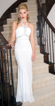 Atina Collection White beaded Halter top Evening Dress
