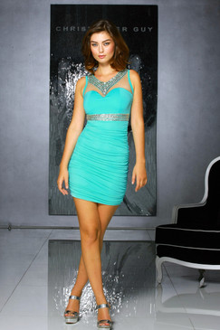 Atina Collection Turquoise Beaded Neckline Bodicon Dress