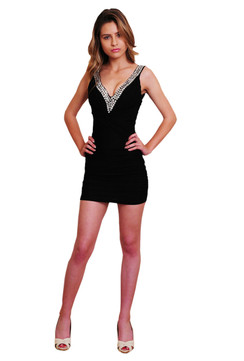 Sexy Sequins embellished V Neck black dress with perfect bust pad