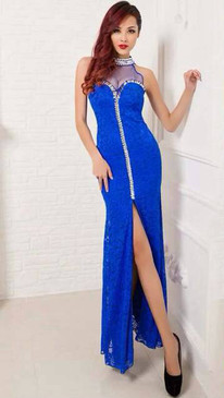 Blue Lace bejeweled mock zipper illusion gown By Atina Collection