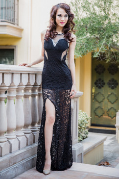Stunner Black Lace panel dress with waist cut-out by Atina Collection